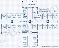 One Of A Kind Floor Plan - 21 Stalls and 4 Wash Areas