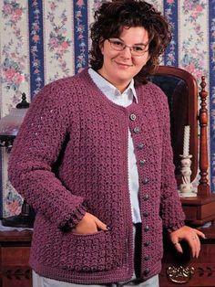 Crochet Clothes - Crochet Jacket Patterns - New Beginnings Bulky Sweater --Free Crochet Pattern