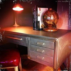 Norman Bel Geddes Desk!! Attention collectors; Here is the perfect mix of art deco, mid-century modern and industrial design all rolled into one amazing desk and it's available NOW at A Life Designed! — $1175