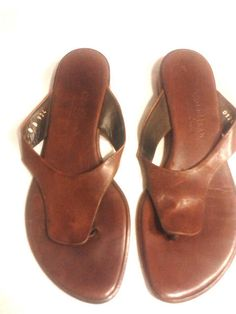 Cole Haan Brown Leather Thong Sandals size 8B #ColeHaan #ThongSandals