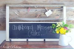 Old window used as chalkboard and message center