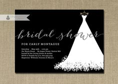 Silver Glitter Bridal Shower Invitation by digibuddhaPaperie