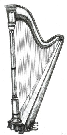 Pencil Drawings | Harp Pencil Drawing by ~KouMiRien on deviantART