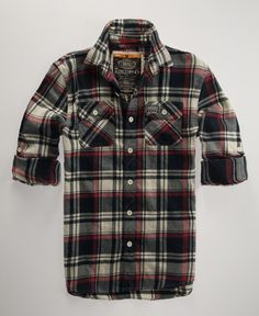 Plaid button-ups!! VERY COOL!! (fave colors reds, blues, blacks, greens)   My son will love this!