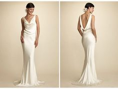 Satin, sling back wedding gown for the stylish, elegant bride