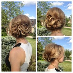 Soft swept side bun. Great for a fascinator or just a night out on the town. Possible wedding hair. @Ainslie Hayden