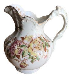 Petite Shabby Chic Cottage Vintage Rose Pitcher Vase on Chairish.com