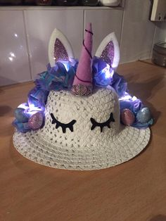 Unicorn Easter Bonnet with fairy lights