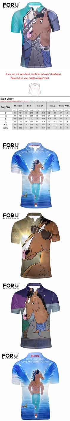 FORUDESIGNS Fashion Mens Polo Shirt Cool BoJack Horseman Print Short Sleeve Polos for Male 3D Cartoon Teens Boys Top& Tees Homme