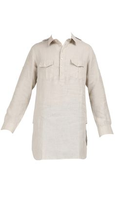 Bullet natural kurta shirt by SUKET DHIR. Shop at https://www.perniaspopupshop.com/mens-shop/suket-dhir-3