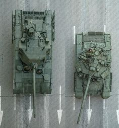 T-14 Armata tank and T-90A from above