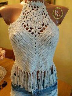 Bildergebnis für top crochet passo a passo Bikinis Crochet, Crochet Bra, Freeform Crochet, Crochet Woman, Crochet Blouse, Crochet Clothes, Crochet Halter Tops, Crochet Shawls And Wraps, Crochet Fashion