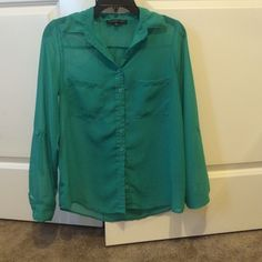 See through long sleeve top Lightly worn, size S, looks really cute tucked into a skirt or out with jeans. Tops Button Down Shirts