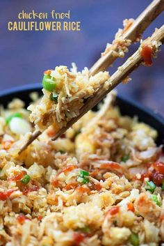 """Now you can enjoy your favorite Asian recipes right at home. Discover these 35 low carb """"better than takeout"""" keto Asian recipes. Chicken Fried Cauliflower Rice, Cauliflower Recipes, Fried Chicken, Keto Chicken, Califlower Fried Rice, Riced Califlower Recipes, Low Carb Chicken Wings, Broccoli Recipes, Chicken Curry"""