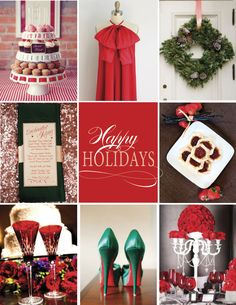 Holiday Hues Wedding Inspiration #wedding #red #green #Christmas #holidays