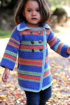 Ravelry: Pea Coat Sweater pattern by Anji Beane - maybe for Ava Crochet Girls, Crochet Baby Clothes, Crochet For Kids, Crochet Jacket, Knit Or Crochet, Cute Crochet, Crochet Patterns, Crochet Stitches, Sewing Patterns