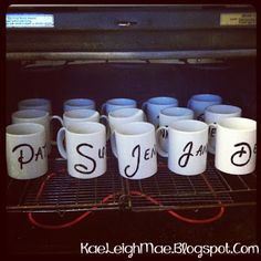 DIY sharpie mugs- you can write any message. A sweet and simple gift idea.