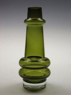 Riihimaki olive green glass vase designed by Tamara Aladin. via Etsy.