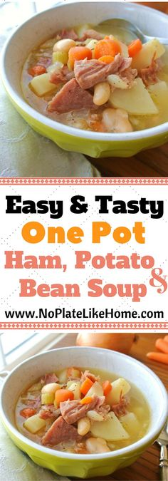 An easy one pot ham and bean soup with potatoes. This soup is made with a ham bone, chicken stock, white beans, celery, onions, carrots, and potatoes. A great homemade soup recipe for cold winter weather and to use up leftover ham!