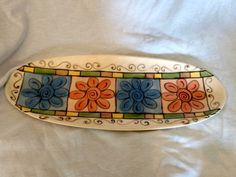 Platter Serving Dining Hand Painted Signed Large 21 inches Flowers