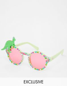 2d484d152 Image 1 of Spangled Huggy Dino Fan Sunglasses Cool Sunglasses, Cat Eye  Sunglasses, Discount