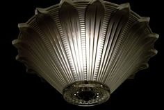 11 inch Art Deco Frosted Sunflower Ceiling Light Fixture It Works   eBay (this would be good in the hall)
