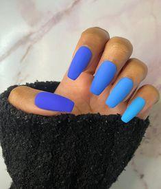 Matte Acrylic Nails, Blue Matte Nails, Blue Ombre Nails, Blue Coffin Nails, Summer Acrylic Nails, Bright Acrylic Nails, Ombre Nail Colors, Ombre Nail Art, Bright Nails