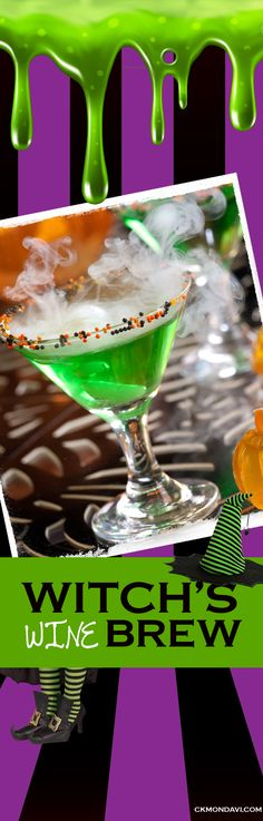 Witch's Brew Winetini (or the whole cauldron for you and your friends) Tag a friend who loves Halloween recipes! Visit our Wine Cocktails Board for Full Recipe Holiday Drinks, Fun Drinks, Alcoholic Drinks, Hey Bartender, Wine Cocktails, Pineapple Juice, Cauldron, Lemon Lime, Brewing