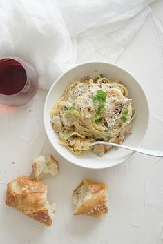 Is there anything better than a big bowl of Kaz's Fettuccine Boscaiola? We didn't think so!