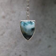 Geometric Ocean Wave Jasper Necklace Silver  by NangijalaJewelry, $208.00