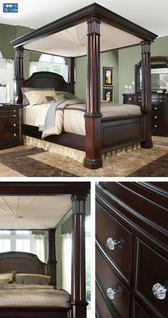Inspired by a vintage photo of Bette Davis' elegant boudoir, the Dumont canopy bedroom evokes old Hollywood glamour from a bygone era. The spectacular bed with its rounded carved posts and magnificent…More Canopy Bedroom Sets, Queen Canopy Bed, Hotel Canopy, Diy Canopy, Home Bedroom, Bedroom Furniture, Furniture Design, Bedroom Decor, Canopy Beds