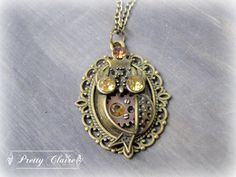 Steampunk owl pendant, steampunk owl necklace, owl pendant, royal owl, handmade necklace, unique gift, steampunk jewelry, unique jewelry by PrettyClaire on Etsy Owl Pendant, Pendant Necklace, Steampunk, Etsy, Trending Outfits, Unique Jewelry, Handmade Gifts, Vintage, Fashion