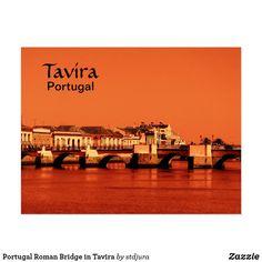 Shop Portugal Roman Bridge in Tavira Postcard created by stdjura. Postcard Size, Falling In Love, Roman, Portugal, Bridge, Louvre, Seasons, Vacation, Building