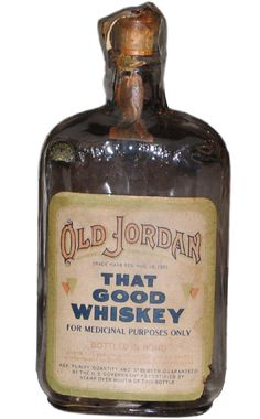 "Old Jordan Bourbon Whisky 18 year old Prohibition ""for Medicinal Purposes Only"""