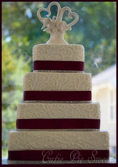 4 Tiered Plum Square Scrolled Wedding Cake