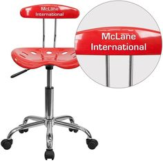 iHome Brittany Personalized Cherry Tomato & Chrome Swivel Home/Office Task Chair w/Tractor Seat, Red