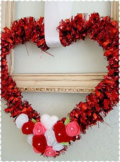 Make your own Upcycled Dollar Store Wreath this Valentine's Day, it's a great piece of holiday home decor. To begin this craft, pick up a heart-shaped wreath from your local dollar store. Valentines Day Greetings, Happy Valentines Day, Funny Valentine, Valentine Wreath, Valentine Crafts, Valentine Ideas, Felt Roses, Valentines Day Decorations, Dollar Store Crafts