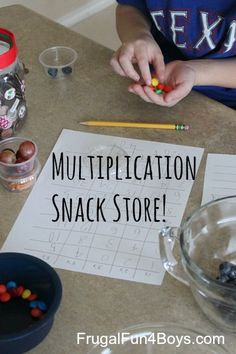 Multiplication Snack Store Math Activity - Work on multiplication, adding, and making change. Great way to make math fun!