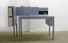Office & Workspace, Stylish And Unique Desks For Home Office Ideas: Beautiful Grey Bureau Desk With Shelves Wood Office Desk, Workspace Desk, Best Office Chair, Home Office Desks, Office Table, Office Chairs, Minimalist House Design, Minimalist Decor, Unique Desks