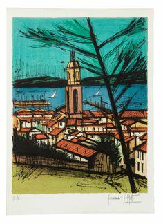 Bernard BUFFET (1928-1999) SAINT TROPEZ L' EGLISE, LA BAIE Lithographie #artauction