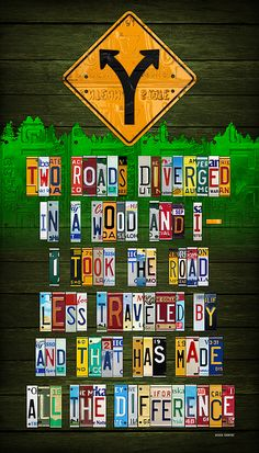 Robert Frost The Road Not Taken Poem Recycled License Plate Lettering Art