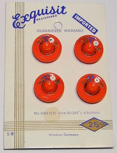 Sweet red glass hat buttons on original vintage card.