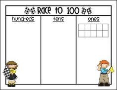 FREEBIE- Race to 100 (or 50) Place Value game! You need to have base 10 blocks to play game. Recommended by Charlotte's Clips