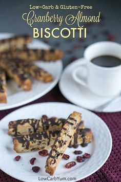 Cranberry Almond Biscotti Cookies - Gluten Free - Low carb almond cranberry biscotti are elegant yet easy to make. They make a tasty gluten free snack or holiday cookie. Perfect with coffee or tea! Biscotti Cookies, Keto Cookies, Gluten Free Cookies, Gluten Free Biscotti Recipe, Diabetic Cookies, Almond Cookies, Bar Cookies, Cranberry Almond Biscotti, Biscuits