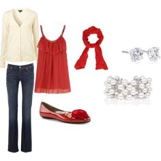 jeans and red=cute combo