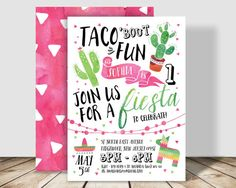 Taco 'bout Fun Fiesta Birthday Party Invitation - 5x7 double sided - Spanish Inspired - Cactus Birthday Party