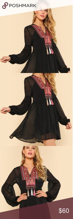 Bishop Sleeve Embroidery Smock Top Without Cami Style : Vacation  Sleeve Type : Bishop Sleeve  Occasion : Beach  Decoration : Embroidery, Sheer, Fringe, Knot  Collar : V Neck  Color : Black  Material : 100% Polyester  Sleeve Length : Long Sleeve  Fit Type : Regular Fit  Fabric : Fabric has no stretch  Shirt Type : Top  Season : Spring, Summer  Length : Longline  Lining : No  Shoulder (cm) : XS: 38.5 cm, S: 39.5 cm, M: 40.5 cm, L: 41.5 cm  Bust (cm) : XS: 91 cm, S: 95 cm, M: 99 cm, L: 103 cm…
