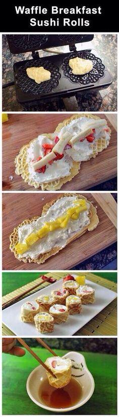 Breakfast waffle sushi