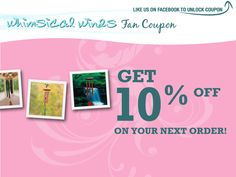 Like us on facebook to get 10% off on your next order of wind chimes and home decor! || www.facebook.com/whimsicalwinds || #whimsicalwinds #windchimes #homedecor #coupon #deal #garden #facebook Got Off, Wind Chimes, Coupons, Whimsical, How To Get, App, Facebook, Garden, Decor