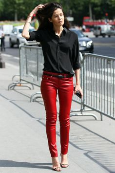 The perfect red leather pants (Barbara Martelo via You Just Got Spotted)